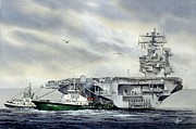 Lincoln Images Posters - Uss Abraham Lincoln Poster by James Williamson