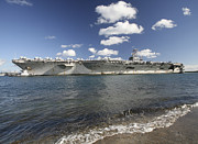 Man The Rails Prints - Uss Abraham Lincoln Returning To Port Print by Michael Wood