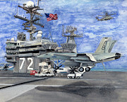 F-18 Paintings - Uss Abraham Lincoln by Sarah Howland-Ludwig