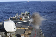 Barry Photos - Uss Barry Fires Her Forward Mounted by Stocktrek Images