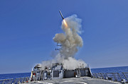 Guided Missiles Framed Prints - Uss Barry Launches A Tomahawk Cruise Framed Print by Stocktrek Images