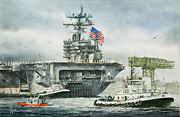 Foss Tugboats Posters - Uss Carl Vinson Poster by James Williamson
