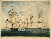 Sailing Ships Prints - Uss Chesapeake Vs. Hms Shannon Print by Everett