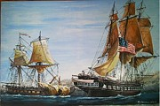 Maritime Art Paintings - USS Constitiution and HMS Guerriere by Rich Holden