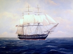 Tall Ships. Marine Art Paintings - USS Constitution by William H RaVell III