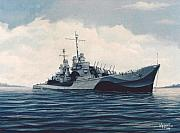 Navy Paintings - USS  Cruiser San Juan by William H RaVell III
