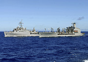 Boats At Dock Photo Posters - Uss Denver And Usns Pecos Conduct Poster by Stocktrek Images