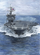 Navy Paintings - Uss Enterprise by Sarah Howland-Ludwig