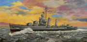 Warship Painting Posters - USS Ericsson Poster by Duwayne Williams