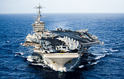 Ocean Photography Framed Prints - Uss John C. Stennis Transits Framed Print by Stocktrek Images