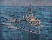 Ship Pastels Prints - USS Juneau LPD 10 Print by Donald Maier