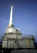 Guided Missiles Framed Prints - Uss Lake Erie Launches A Standard Framed Print by Stocktrek Images