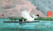 Confederacy Framed Prints - Uss Montauk Destroys Rebel Steamship Framed Print by Photo Researchers