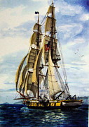 Great Lakes Ship Paintings - USS Niagara On Patrol by Lawrence Welegala