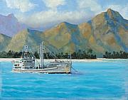 Cargo Paintings - USS Reluctant Anchored Off Ennui by Glenn Secrest