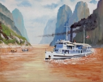 Navy Paintings - USS San Pablo On Yangtze River Patrol by Glenn Secrest