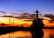 Backlit Posters - Uss Spruance Is Pierside At Naval Poster by Stocktrek Images