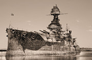 Dreadnought Prints - USS Texas BW Print by JC Findley