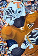 Football Mixed Media - UT Runningback by Michael Lee