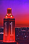 Burnt-orange Framed Prints - UT Tower Number One Framed Print by Gary Dow