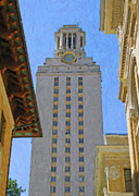 Stockyards Posters - UT University of Texas Tower Austin Texas Poster by Jeff Steed