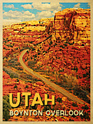 Road Trip Digital Art Framed Prints - Utah Boynton Overlook Framed Print by Vintage Poster Designs
