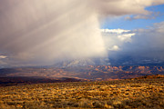 Crepuscular Rays Photos - Utah Desert Storm by Mike  Dawson