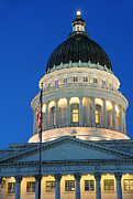 Legislation Framed Prints - Utah State Capitol Building Dome at Sunset Framed Print by Gary Whitton