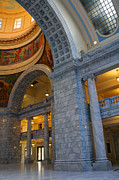 Glass Reflection Framed Prints - Utah State Capitol Interior Arches Framed Print by Gary Whitton