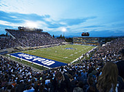 College Sports Prints - Utah State Romney Stadium At Dusk Print by Utah State University