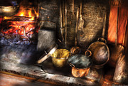 Fireplace Framed Prints - Utensils - Colonial Kitchen Framed Print by Mike Savad