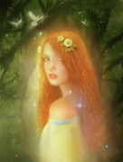 Redhead Mixed Media - Utherworlds Lealinnia by Philip Straub