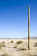 Bleak Desert Framed Prints - Utility Pole in Desert, Twenty Nine Palms, Mojave Desert, California Framed Print by Paul Edmondson