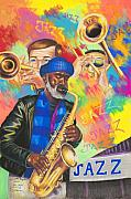 Jazz Pastels Posters - Utopia Jazz Poster by Sandra Pryer