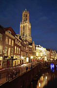 Old Street Metal Prints - Utrecht Cathedral at Night Metal Print by Neil Overy