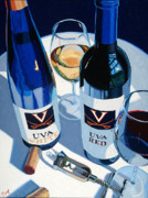 Wine Oil Posters - UVA Red and White Number One Poster by Christopher Mize