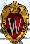 Wisconsin Glass Art - UW Shield by Dipple