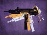 Pop Art Framed Prints - Uzi Sub Machine Gun on Purple Framed Print by Michael Tompsett