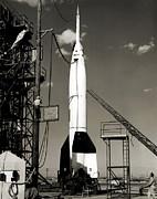 V-2 Bumper Rocket Launch In Usa Print by Detlev Van Ravenswaay