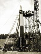 V-2 Prototype Rocket Prior To Launch Print by Detlev Van Ravenswaay