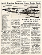 V-2 Reconstruction In The Daily Mirror Print by Detlev Van Ravenswaay