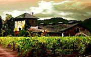 Napa Valley Vineyard Paintings - V Sattui Winery Napa by Paul Bailey
