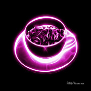 Rateitart Digital Art Prints - V2-BB-Electrifyin The Coffee Bean-Magenta Print by James Ahn