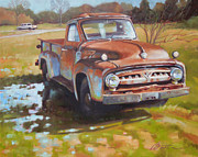 Rusty Truck Paintings - V8 by Todd Baxter