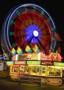Lightning Decorations Photo Prints - Vacant carnival bench Print by James Bo Insogna
