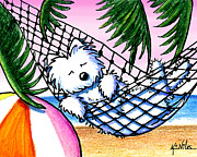 Tropical Mixed Media Framed Prints - Vacation Westie Framed Print by Kim Niles