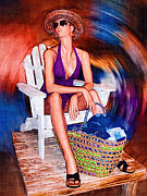 Sun Hat Digital Art Posters - Vacation Whirl Mannequin Poster by Kathy Clark