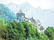 Swiss Drawings - Vaduz Castle Vaduz Lichtenstein by Joseph Hendrix