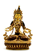 White Background Prints - Vajrasattva Print by Fabrizio Troiani