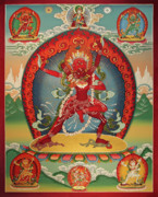  Mineral Painting Acrylic Prints - Vajravarahi from Mongolian Kanjur Acrylic Print by Sergey Noskov